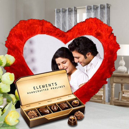 Online ITC Chocolates with Heart Shaped Personalized Cushion