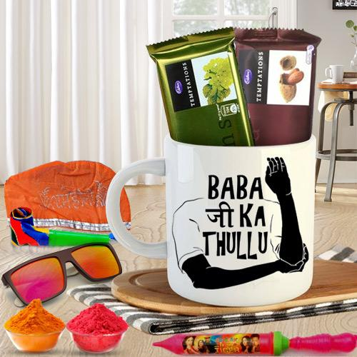 Exclusive Funky Coffee Mug n Holi Chocolates Hamper