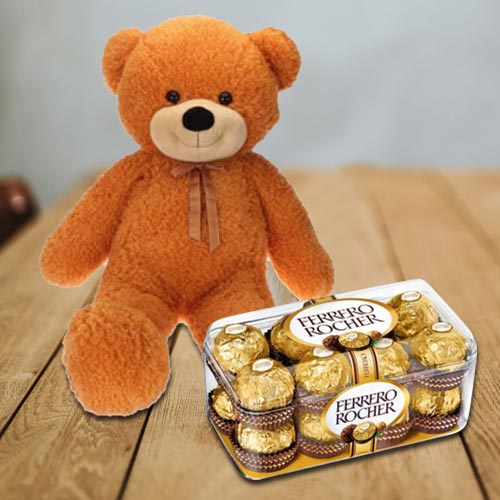 Amazing Super Big Teddy with Ferrero Rocher Chocolates