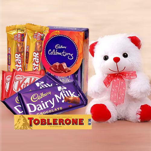 Rich Chocolate Gift Hamper with Teddy Bear