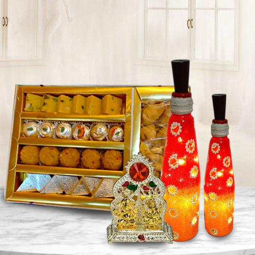 Magnificent Bottle Art Lamp Set with Antique Ganesh Laxmi Mandap n Assorted Sweets