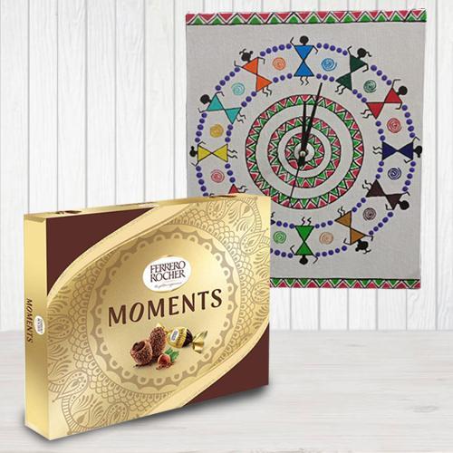 Beautiful Warli Art Wall Clock n Ferrero Rocher Moments