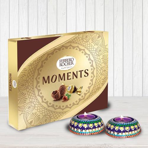 Lip Smacking Ferrero Rocher Chocolates with Dot Mandala Art Handmade Diya