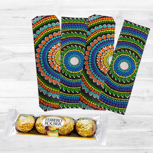 Attractive Dot Mandala Art Bookmarker with Ferrero Rocher