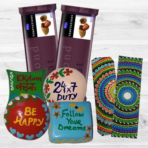 Delicious Cadbury Chocolates with Dot Mandala Art Book Marker n Handmade Fridge Magnets