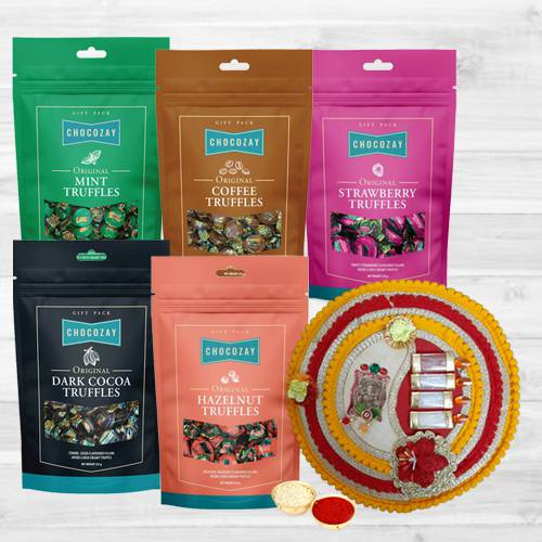 Tasty Five Assorted Truffle Chocolates with Pooja Thali