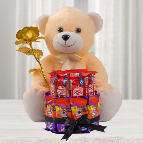 Marvelous Teddy with Golden Rose n 2 Tier Chocolate Arrangement
