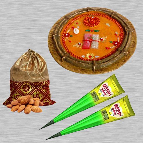 Karwa Chauth Sargi Pooja Thali, Helbal Mehndi N Crunchy Almonds