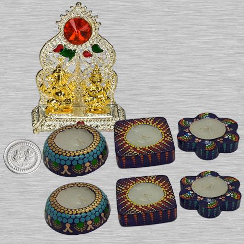 Auspicious Ganesh Laxmi Mandap with 6 pcs Designer Wax Candle n Free Silver Plated Coin