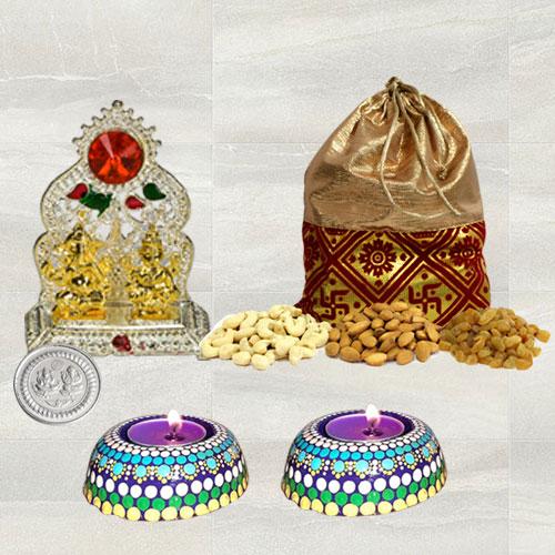 Marvelous Diwali Gift of Ganesh Laxmi Mandap, Dry Fruits n Hand Made Wax Candle