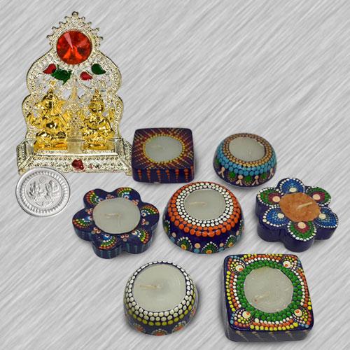 Decorative Diwali Gift Set of 7 pcs Designer Dot Mandala Art Hand Made Diya with Ganesh Laxmi Mandap  N  Free Silver Plated Coin