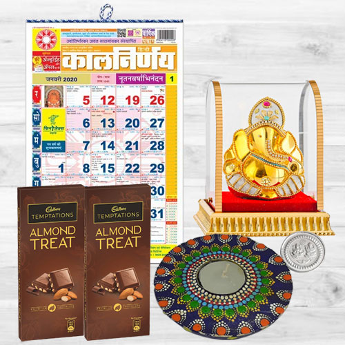 Auspicious Diwali Gift Combo of Ganesh Idol, Cadbury Chocolates, Hindi Calendar n Rangoli Wax Candle, Free Silver Plated Coin