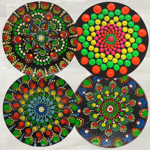 Stylish Diwali Decor Set of 4 pcs Dot Mandala Art Handmade Rangoli