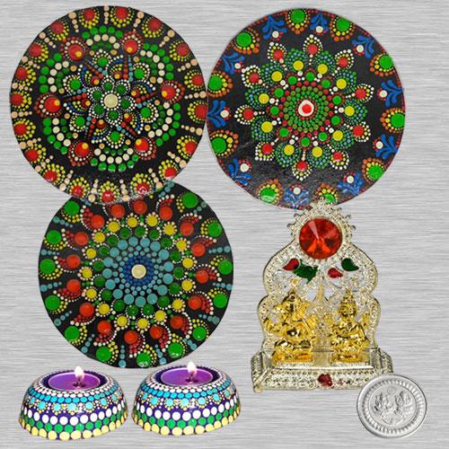 Exclusive Dot Mandala Art Diwali Decor Rangoli n Diya with Laxmi Ganesh Mandap  N  Free Silver Plated Coin
