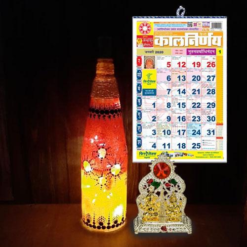 Exclusive Diwali Gift of Ganesh Laxmi Mandap, Bottle Art LED Lamp n Hindi Calendar