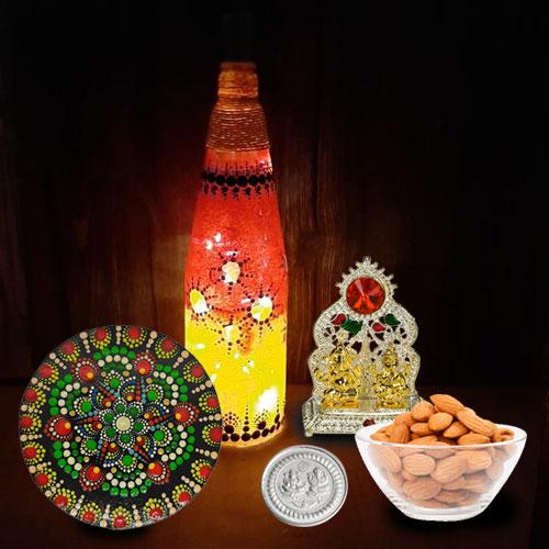 Exclusive Diwali Gift of Ganesh Laxmi Idol, Dry Fruits, Diwali Decor n Free Silver Coin for Family n Friends