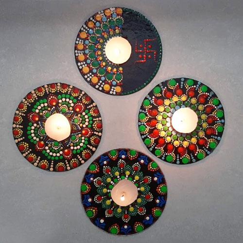 Exclusive Diwali Decor of 4 pcs Dot Mandala Art Handmade Swastik Rangoli n Tea Light Candle Set for Family n Friends