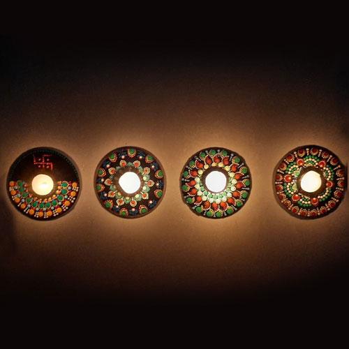 Exclusive Diwali Decoration Handmade Dot Mandala Art Auspicious Rangoli n Wax Diya Set