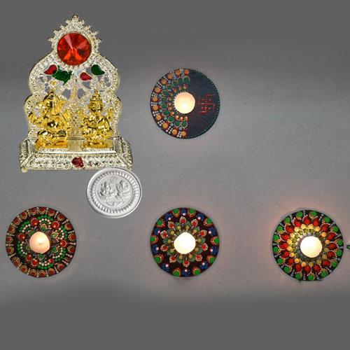 Propitious Ganesh Laxmi Mandap with Rangoli Decor Set for Diwali with Free Silver Coin