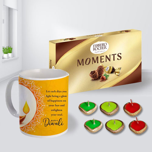 Special Personalized Diwali Message Mug, Ferrero Rocher Chocolates n Free Diya