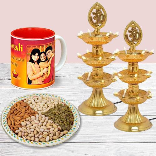 Marvelous Personalized Photo Mug with Dry Fruits n Diya Lamp Pair for Diwali