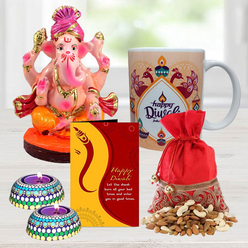 Propitious Ganesh Laxmi Idol with Personalized Coffee Mug, Dry Fruits, Handmade Diya Set n Free Diwali Greetings Card