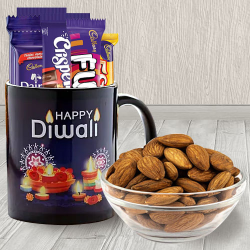 Beautiful Personalized Diwali Greetings Coffee Mug with Assorted Cadbury Chocolates n Almonds