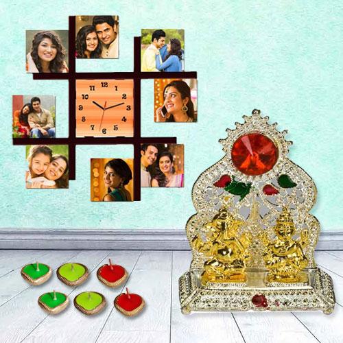 Attractive Personalized Photo Wall Clock with Ganesh Laxmi Mandap n Free Diya for Diwali