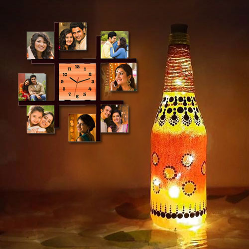 Attractive Personalized Photo Wall Clock with Bottle Art LED Lamp