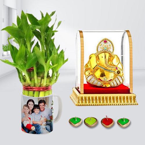 Prayerful Vighnesh Ganesh Idol with Personalized Photo Mug, 2 Tier Lucky Bamboo Plant n Free Diya