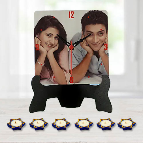 Attractive Personalized Photo Table Clock with 16 pcs Ferrero Rocher n Free Diya
