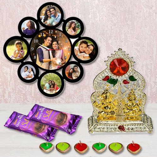 Attractive Personalized Photo Wall Clock with Laxmi Ganesh Mandap, Cadbury Chocolates n Free Diya