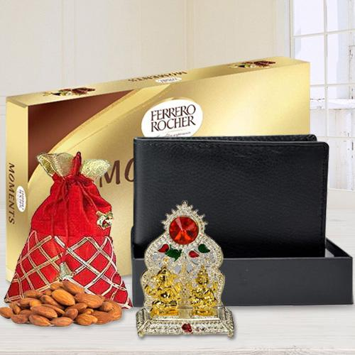 Pious Ganesh Laxmi Mandap with a Gents Leather Wallet, Ferrero Rocher Chocolate n Crunchy Almonds