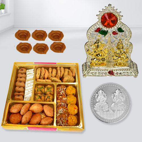 Tasty Diwali Sweets n Snacks Platter from Bhikaram with Laxmi Ganesh Mandap, Coin n Free Diya