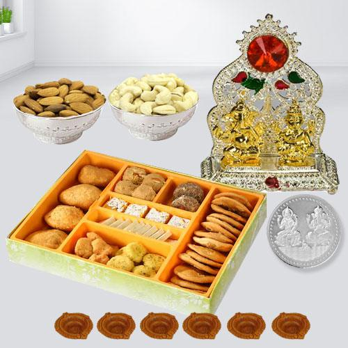 Mouth-watering Diwali Sweets with Dry Fruits, Snack n Laxmi Ganesh Mandap, Coin n Free Diya