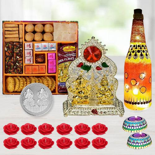 Exclusive Diwali Gift of Ganesh Laxmi Mandap, Diya, Lamp, Sweets, Snacks, Candles n Free Coin