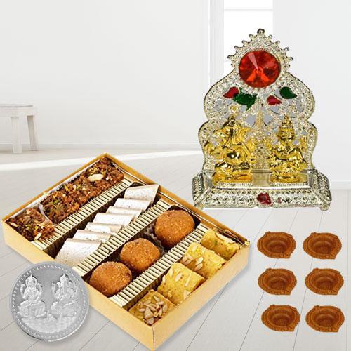 Special Diwali Gifts and Sweets Box from Haldiram/Bhikaram, Coin n Free Diya