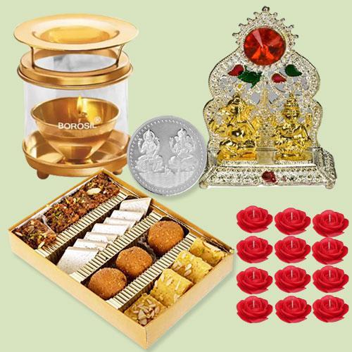 Exclusive Diwali Sweets Assortment with Laxmi Ganesh Mandap, Akhand Diya, Candles n Free Coin
