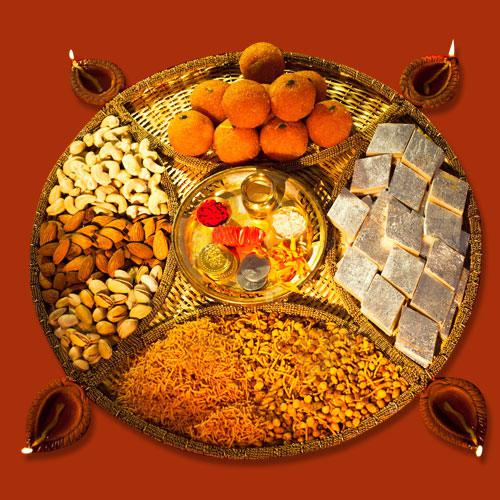 Special Diwali Sweets and Dry Fruits, Pooja Thali n Puja Samagri Combo