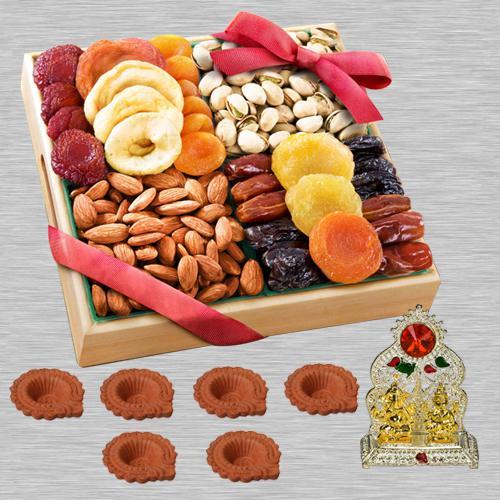 Astonishing Diwali Dry Fruits Platters with Ganesh Lakshmi Mandap, Free Diya