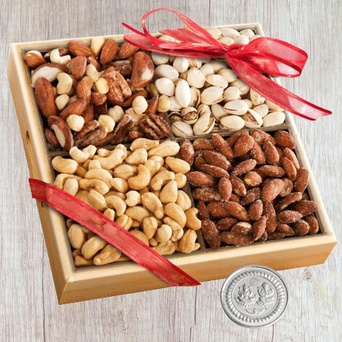 Marvellous Wooden Tray of Assorted Premium Salted Dry Fruits, Free Coin for Diwali