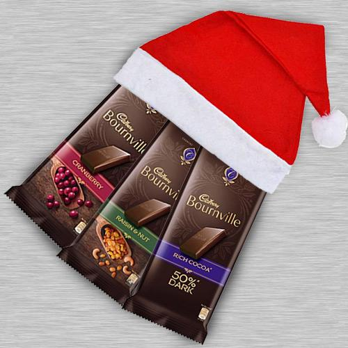 Delectable Cadbury Bournville Chocolate in Santa Clause Cap