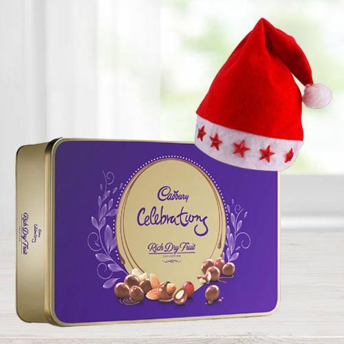 Wonderful Cadbury Dairy Milk Rich Dry Fruit Box N Santa Claus LED Lighting Cap