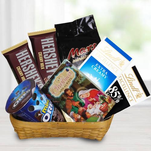 Amazing Gift Basket of Chocos n Christmas Greetings Card