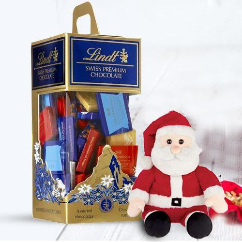Marvelous Lindt Swiss Chocos N Santa Claus Soft Toy