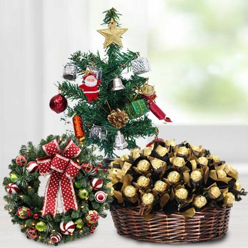 Delectable Ferrero Rocher Chocolates arranged in Basket