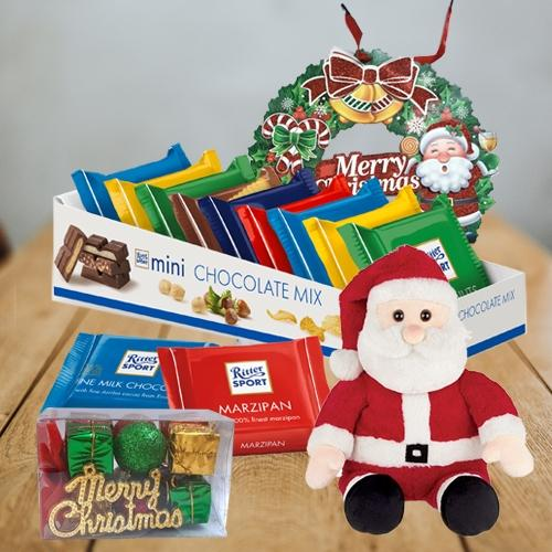 Exclusive Ritter Sport Chocos with Santa Claus Soft Toy N Wreath