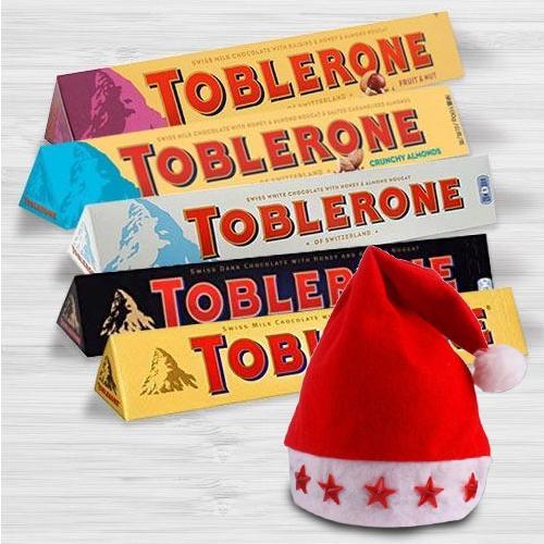 Marvelous Toblerone Chocolates with LED Santa Claus Cap