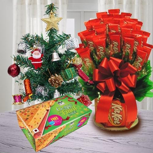 Marvelous Kitkat Bouquet with X-Mas Tree n Fruit Cake