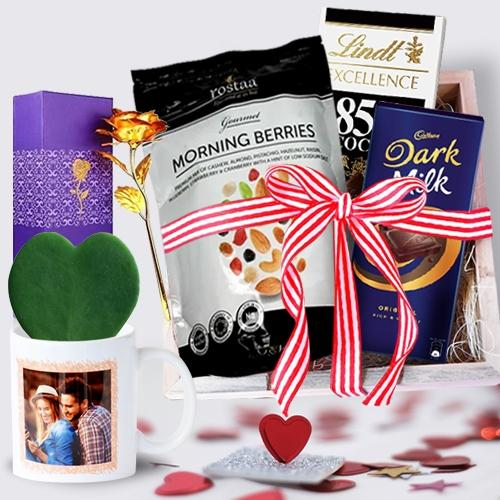 Marvelous Gift Hamper of Chocolate with Love Plant in Personalized Mug